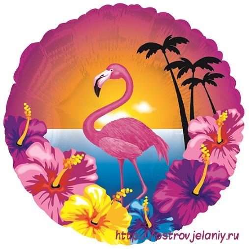 Шар (18''/46 см) Круг, Фламинго и гибискусы