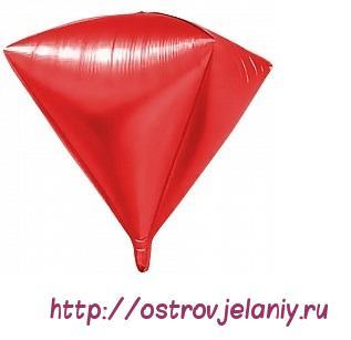 Шар 3D (27''/69 см) Алмаз, Красный