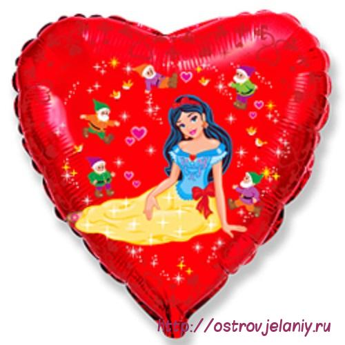 Воздушный шар (18''/46 см) Сердце, Белоснежка и гномы, Красный