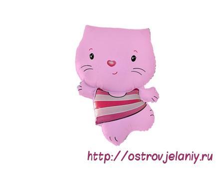 Фольгированный шар (30''/76 см) Фигура, Котенок, Розовый