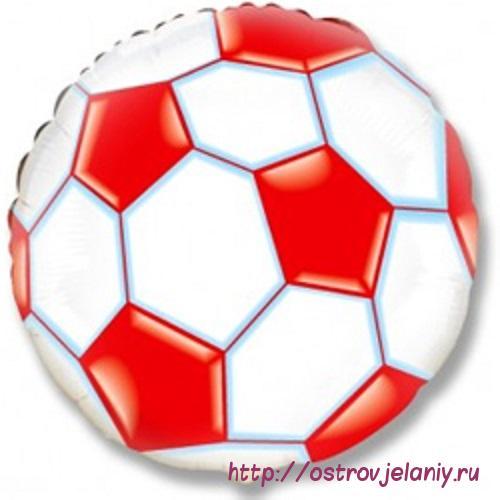 Шар (18''/46 см) Круг, Футбольный мяч, Красный