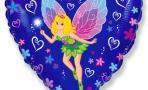 Воздушный шар (18''/46 см) Сердце, Леди Бабочка, Синий