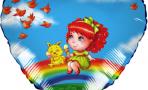 Воздушный шар (18''/46 см) Сердце, Девочка на радуге, Голубой
