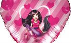 Воздушный шар (18''/46 см) Сердце, Девушка - Кошка, Розовый