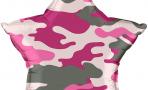 Воздушный шар (18''/46 см) Звезда, Камуфляж, Розовый