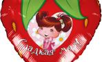 Воздушный шар (18''/46 см) Сердце, Клубника, Красный
