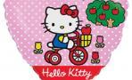 Воздушный шар (18''/46 см) Сердце, Котенок на велосипеде, Розовый