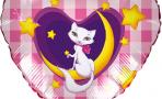 Воздушный шар (18''/46 см) Сердце, Кошка на луне