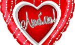 Воздушный шар (18''/46 см) Сердце, Люблю, на русском языке, Красный