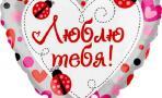 Воздушный шар (18''/46 см) Сердце, Люблю тебя (божьи коровки)