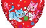 Шар (18''/46 см) Сердце, Милые котята, Красный