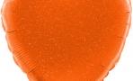 Шар (18''/46 см) Сердце, Оранжевый голография