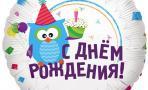 Воздушный шар (18''/46 см) Круг, С Днем рождения (Сова), на русском языке