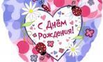 Воздушный шар (18''/46 см) Сердце, С Днем рождения (насекомые), на русском языке