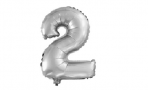 Шар с клапаном (16''/41 см) Мини-цифра, 2, Серебро